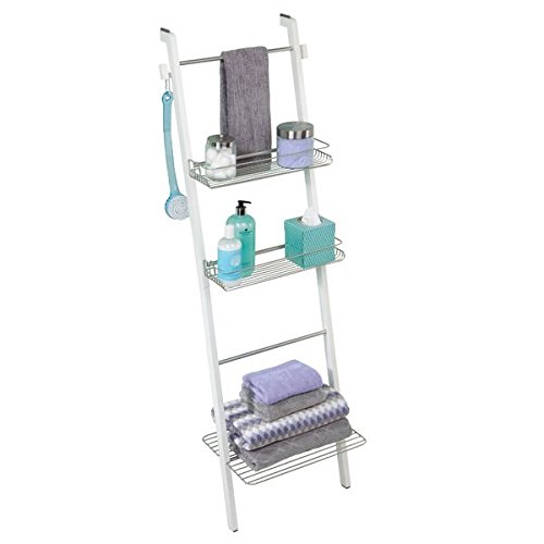 mDesign Free Standing Bathroom Storage Ladder with Shelves for Towels, Soap, Candles, Tissues, Lotion, Accessories - White/Satin