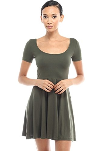 [2LUV Women's Short Sleeve Scoop Neck Fit & Flare Skater Dress Olive M] (Grady Twins Costume)