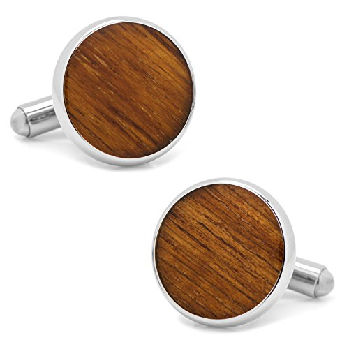 Ox and Bull Trading Co. Stainless Steel Wood Cufflinks - Veneer Bullet