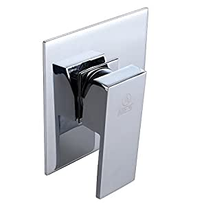 KES BRASS Shower Faucet Body Valve and SOLID Stainless Steel Trim Square Concealed Replacement for Bathroom Showering System G 1/2, Polished Chrome, L6711