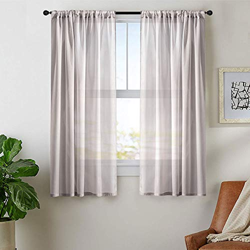 MRTREES Grey Sheer Curtains 54 inches Long Bedroom Window Curtain Sheers 2 Panels Living Room Voile Curtain Panel Solid Sheers Rod Pocket Kitchen Window Treatment Set ()