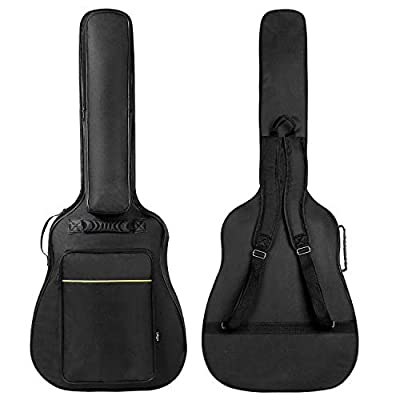 CAHAYA 41 Inch Acoustic Guitar Bag 0.3 Inch Thick Padding Waterproof Guitar Case Gig Bag with Back Hanger Loop and Music Stand Pocket