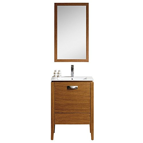 "Fine Fixtures MA24WT-VE2418W-MAM24WT Manchester Vanity with Mirror, 24"", Wheat"