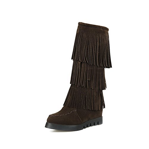 AgooLar Women's Pull-on Round Closed Toe High-Heels Imitated Suede High-top Boots Brown criE9V