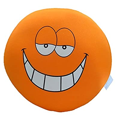 "Tache Home Fashion Crazy Face Decorative Round Squishy Soft Microbead Emoji Smiley Toss Throw Pillow, 13"" x 13"" x 6"", Orange: Home & Kitchen"