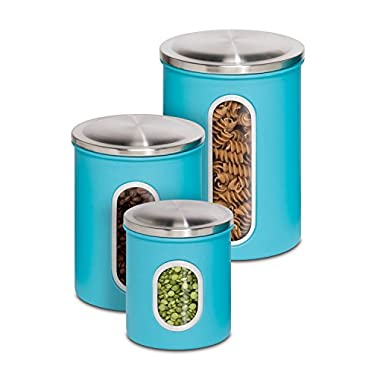 Honey-Can-Do KCH-01312 3-Piece Metal Nested Canister Storage Set, Blue
