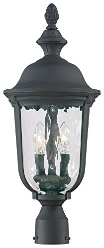 8995-66 Ardmore - Two Light Outdoor Post Mount, Black Finish with Clear Hammered Glass (Ardmore Outdoor 2 Light)