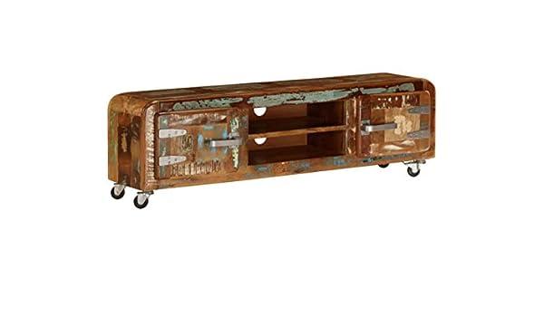 h4home Mueble de Madera reciclada de Estilo Vintage con Ruedas de ...