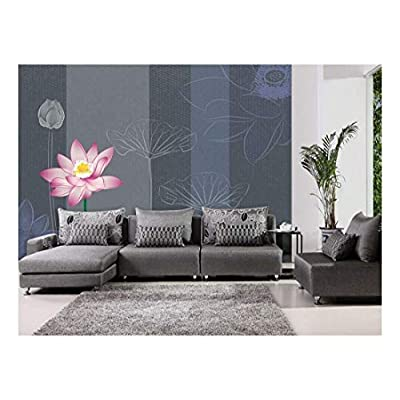 Astonishing Artistry, Pretty Floral Pink Tulip and Hand Drawn Flowers on a Stripe Textured Background Wall Mural, Premium Creation