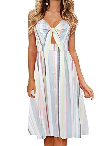 FANCYINN Womens Floral Prints Tie Front Button Down Spaghetti Strap Midi Dress (Color Stripe, X-Small) (Sleeveless Button Front Dress)