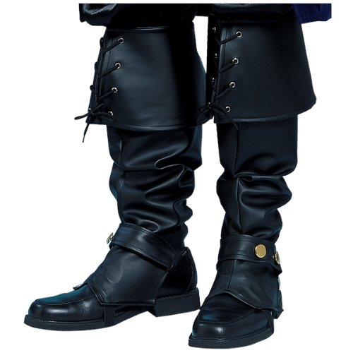 Deluxe Black Vinyl Boot Tops Costume -