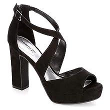 Sophie17 Womens Vanessa Platform Sandal Shoes, Black, US 9.5