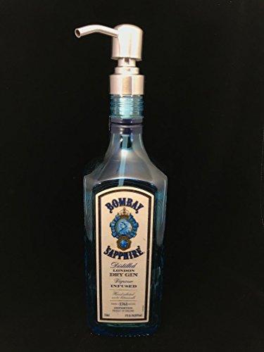 Bombay Sapphire Gin Bottle (Glass Dispenser for Soap/Lotion- Bombay - Reclaimed Bottle - 750 ML)