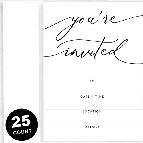 25 Party Invitations with Envelopes | Blank, Black and White Invites | Great for Weddings, Graduation, Couples Showers, Rehearsal Dinners, Anniversaries, Special Events, Fundraisers