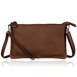 Befen Women Leather Wristlet Wallet Shoulder Crossbody Bag Clutch Purses With 6 Card Slots Wrist Strap Crossbody Strap Walnut Brown