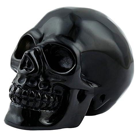 SUNYIK Black Obsidian Carving Skull Stone Pocket Statue Figurine Decor 3