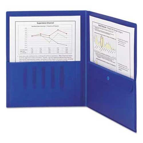 Smead Water - Smead Poly Two-Pocket Folder w/Security Pocket, 11 x 8 1/2, Blue, 5/Pack
