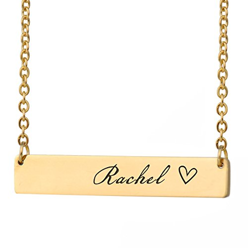 - HUAN XUN Rachel Name Daisy Name Necklace for Women Bar Initial Necklace Personal Jewelry Birthday Valentine Gift