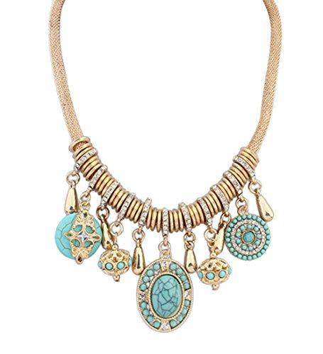 Vintage Metal Turquoise Luxury Stone Pendant Alloy Short Style Statement Necklace (Blue)