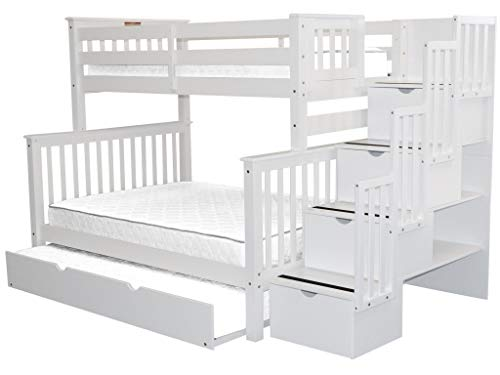 Bedz King Stairway Bunk Beds Twin over Full with 4 Drawers in the Steps and a Full Trundle, White (White Bunk Beds With Stairs And Trundle)