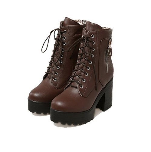 High Low Boots up PU Solid Women's AgooLar Brown Top Lace Heels faqq0wx