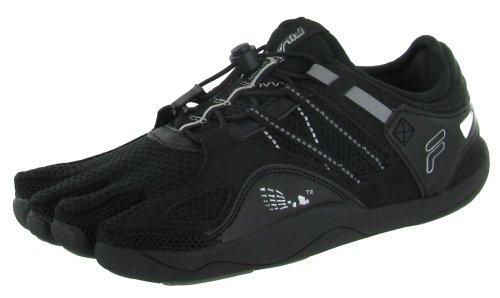 Fila skeletoes EZ Slide di drenaggio da uomo minimalista scarpe cinque dita Taglie UK Black / Metallic Silver / Pewter