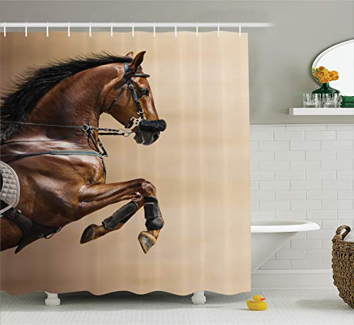 - Ambesonne Animal Decor Collection, Chestnut Color Horse Jumping in a Hackamore Life Force Power and Honor Love Sign Print, Polyester Fabric Bathroom Shower Curtain Set with Hooks, Brown Cream