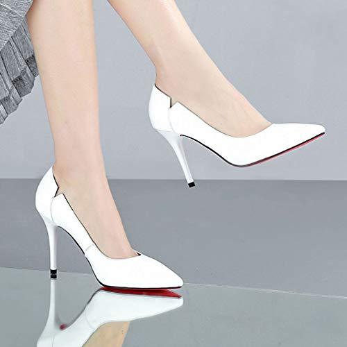 Talon Dames Gfphfm Mode Sauvage Pointu Femmes2019 Hauts b Nouveau Talons Printemps automne Fin 35 Chaussures Simples Cuir D9EHI2