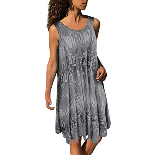 CCatyam Plus Size Dresses for Women, Skirt Vest Sleeveless Print Sexy Loose Leisure Club Fashion Gray