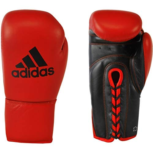 adidas Professional Boxing Gloves 100% Cow Leather with Lace Closing ADIBC04 (RED/Black, 10oz)