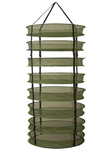JOYOOO Hanging 8 Tier Detachable Dry Rack Hydroponic Grow Tent Herb Bud Plant Clothes Drying Net((60cm X 8 tiers) (Grün)