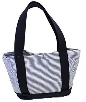 Thomas Bates Charleston Seersucker Tote (Small, Navy)