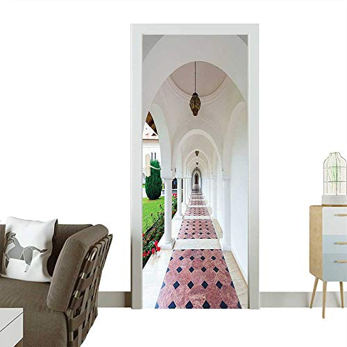Decorative Door Decal Dome Arched Colonnade Hallway at Sambata De Sus Monastery in Transylvania Romania White Stick The Picture on The doorW36 x H79 INCH