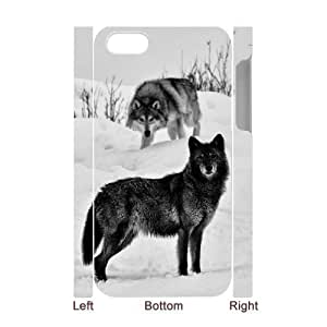 Black Wolves Custom 3D Case for Iphone 4,4S, 3D Personalized Black Wolves Case wangjiang maoyi