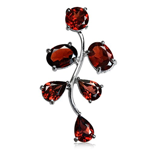 (6.24ct. Natural January Birthstone Garnet 925 Sterling Silver Leaf Pendant)