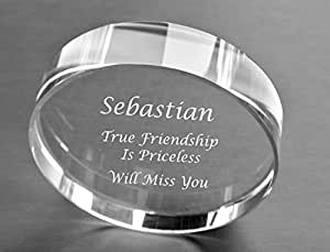 Personalized Circle Crystal Paperweight Engraved Free
