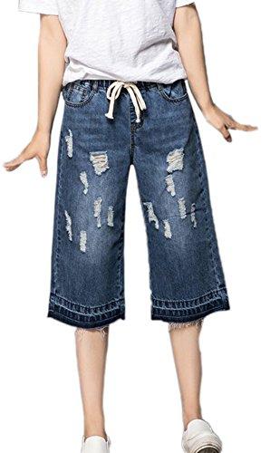 Strappati Donna Elasticizzato Allentati Da Vita Pantaloncini Elastico Di In Jeans ESqwxaa1