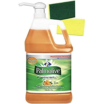 Palmolive Orange Professional Dishwashing Liquid Detergent with Pump Dispenser and 2 Scrub Sponges - 1 Gallon Industrial Size – Orange Scent