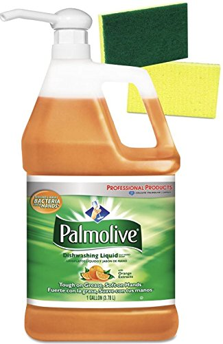 Palmolive Orange Professional Dishwashing  Liquid Detergent with Pump Dispenser and 2 Scrub Sponges - 1 Gallon Industrial Size – Orange Scent by Palmolive