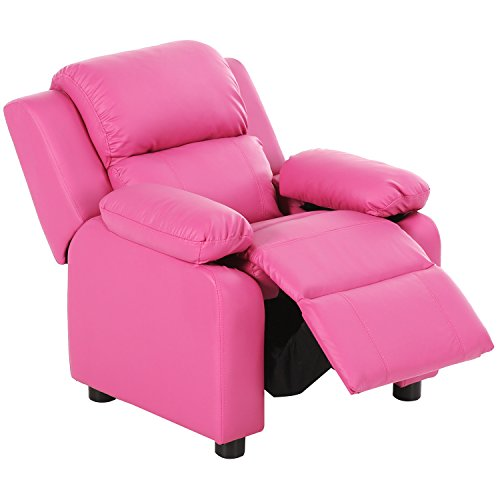 Harper&Bright Designs Kids Recliner with Storage Arms PU Leather Sofa Chair for Child (Pink) by Harper&Bright Designs
