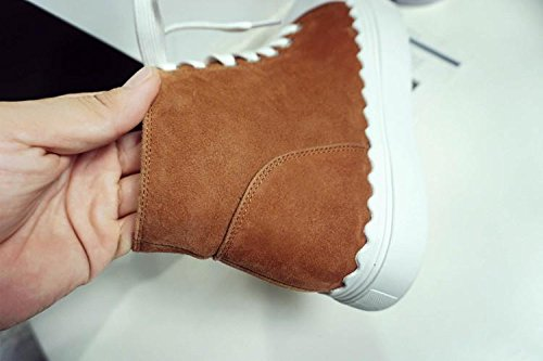 winter NSXZ cowboy boots spell and comfortable YELLOW 120W female flat round Autumn color gwAT1qw