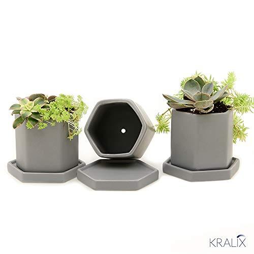 Succulent Planter Pots - Small Ceramic Containers, Cactus Planters, Flower Pots with Drainage Hole, Set of 3pc Gray Hexagonal Mini Planter Set