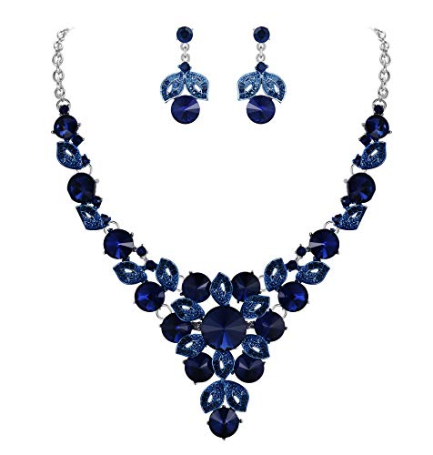 - BriLove Women's Wedding Bridal Crystal Multi Round Flower Enamel Statement Necklace Dangle Earrings Set Navy Blue Sapphire Color Silver-Tone