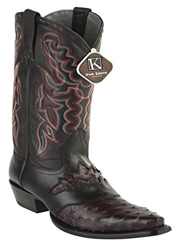 Womens Snip Toe Black Cherry Genuine Leather Saddle Ostrich Skin Western Boots jn4bfFF