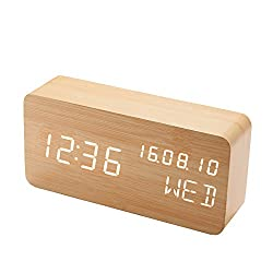 ASFLY Wooden Digital LED Alarm Clock Voice Control Desk Alarm Clock USB Cable Chargeable and Battery(not included) Powered Dispaly Time,Date,Week and Temp