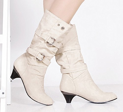 Aisun Women's Stylish Cool Round Toe Buckle Strap Dress Chunky Medium Heel Mid Calf Boots Shoes Beige 8.5 B(M) US by Aisun (Image #2)