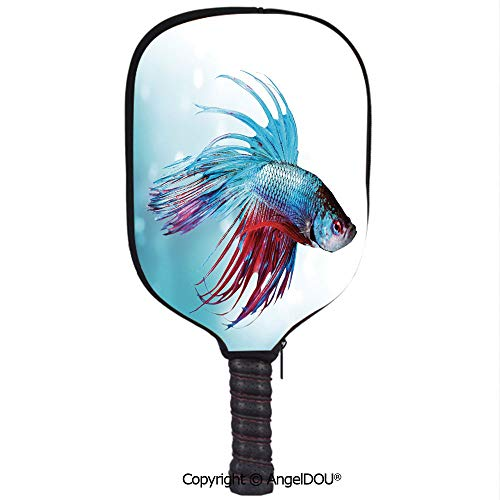(AngelDOU Aquarium Soft Neoprene Pickleball Paddle Racket Cover Case Siamese Fighting Betta Fish Swimming in Aquarium Aggressive Sea Animal Decorative Fit for Most Rackets.Sky Blue Dark Coral)