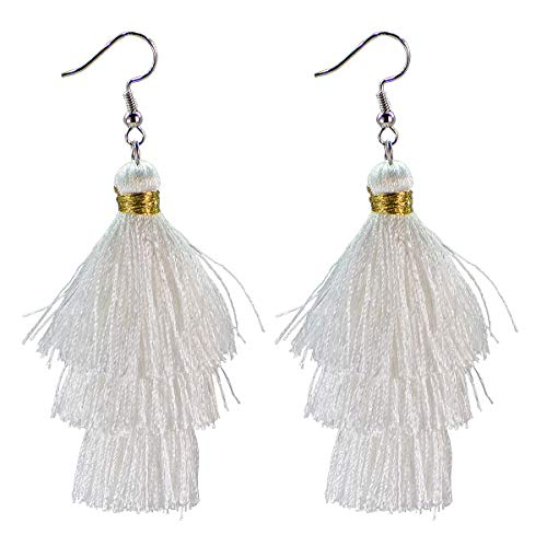 AD Beads Fashion Charm Crystal Silk Tassel 3 Layers Fan Fringe Dangle Earrings (01 white)
