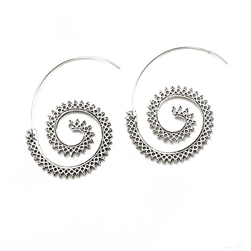 Gypsy Threader Wire Filigree Spiral Circle Hoop Earrings (Silver)