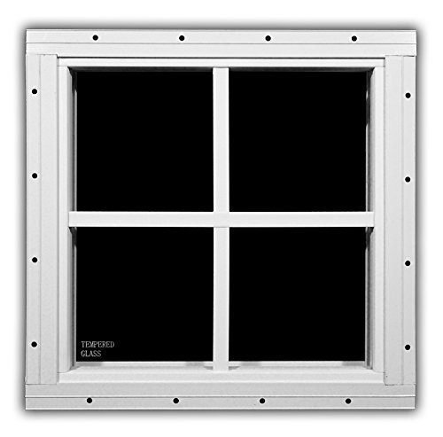 Shed Windows 12″ x 12″ Flush Mount w/ Safety Glass – Playhouse Windows (White) Review